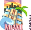 Vector Clip Art image  of a Miami Florida