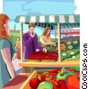 Vector Clip Art graphic  of a farmers market