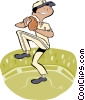 Vector Clip Art graphic  of a boy in wind up to pitch
