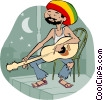 Vector Clip Art graphic  of a guitar player