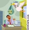 business metaphor, money from the stork Vector Clip Art graphic
