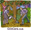 men planting a tree Vector Clip Art graphic