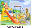 Vector Clip Art picture  of a Mother playing with children