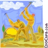Farmers working the fields Vector Clipart picture