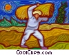 Vector Clipart illustration  of a Farmer carrying bail of hay