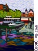 Vector Clip Art picture  of a sight seeing boat in canal