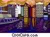 Vector Clip Art image  of a sight seeing boat in canal
