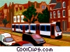 Vector Clip Art image  of a streetcar on road