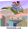 business metaphor, magic carpet ride Vector Clip Art picture