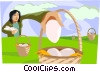don't put all your eggs in one basket Vector Clipart illustration