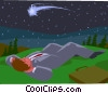 Vector Clipart picture  of a wishing on a shooting star