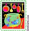 caldron, pot with utensils Vector Clipart graphic