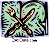 Vector Clipart graphic  of a knife and fork in decorative