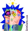 Vector Clip Art image  of a person with idea