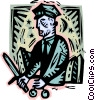 Vector Clip Art graphic  of a policeman in decorative