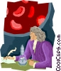 Vector Clipart picture  of a scientist with microscope