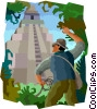 Vector Clip Art graphic  of a pyramid in jungle