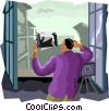 Vector Clip Art image  of a taking a picture from balcony