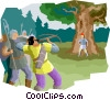 shooting an arrow at a man with apple on head Vector Clip Art picture