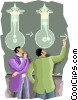 studying electricity Vector Clipart illustration
