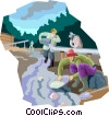 Vector Clip Art picture  of a Panning for gold