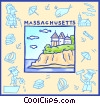 Vector Clip Art image  of a Massachusetts