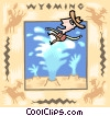 Wyoming with cowboy and old faithful Vector Clip Art picture