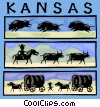 Kansas with cowboys and buffalo Vector Clipart image