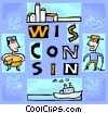 Wisconsin with cheese maker Vector Clipart illustration