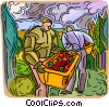 Vector Clipart image  of a farmers picking fruit