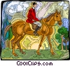 Vector Clip Art image  of a Person riding horse