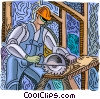 Vector Clipart graphic  of a man cutting wood with skill