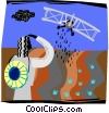 plane, crop dusting Vector Clipart picture