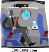 man sitting in a air plane looking out the window Vector Clip Art graphic