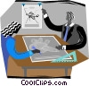 two people sitting at a table discussing business Vector Clipart illustration