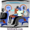 two people talking in an air plane Vector Clip Art image