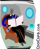 person sitting in their seat reading a news paper Vector Clipart illustration