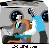 Vector Clipart graphic  of a man working on a lap top in a