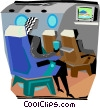 passenger sitting in a plane watching a movie Vector Clipart illustration