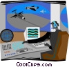 Vector Clip Art image  of an airport radar system