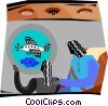Vector Clip Art graphic  of a two people sitting in a plane