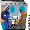 Vector Clip Art graphic  of a stewardess with cocktails