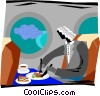 person eating a meal in a plane Vector Clipart picture