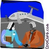 two people meeting after the plane has landed Vector Clipart picture