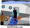 woman being greeted as she steps off of a plane Vector Clipart illustration