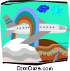 airplane flying through a rainbow over mountains Vector Clip Art picture
