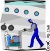 Vector Clip Art graphic  of an airport baggage handler