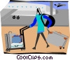 woman at the airport terminal with her luggage Vector Clipart graphic