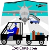 baggage train at the airport Vector Clipart illustration