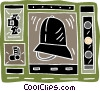 police officer police car whistle traffic lights Vector Clipart picture